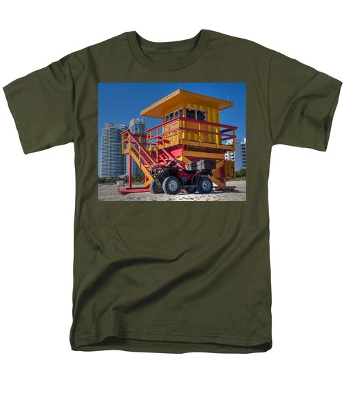 Miami Beach Lifeguard House Ocean Rescue Men's T-Shirt  (Regular Fit) by Toby McGuire