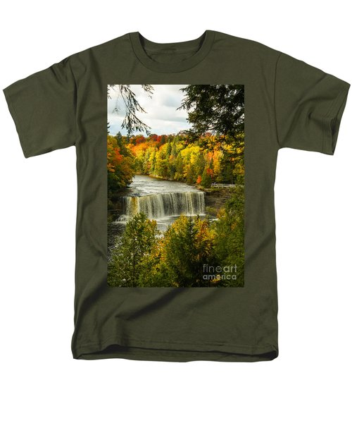 Michigan Waterfall Men's T-Shirt  (Regular Fit) by Marilyn Carlyle Greiner