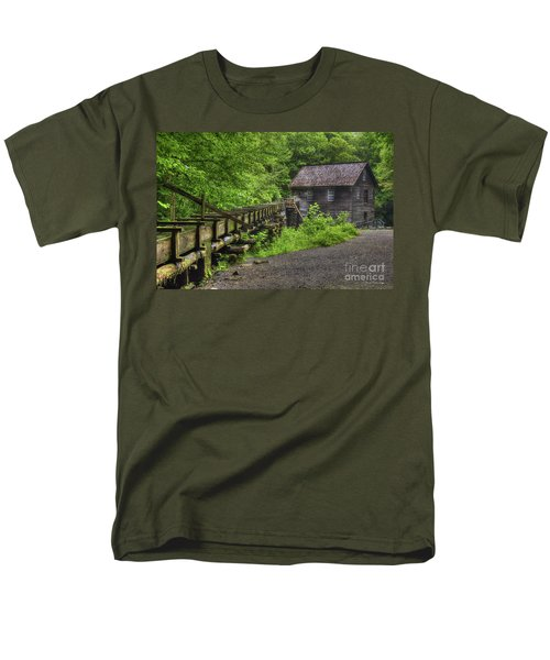 Men's T-Shirt  (Regular Fit) featuring the photograph Mingus Mill 2 Mingus Creek Great Smoky Mountains Art by Reid Callaway
