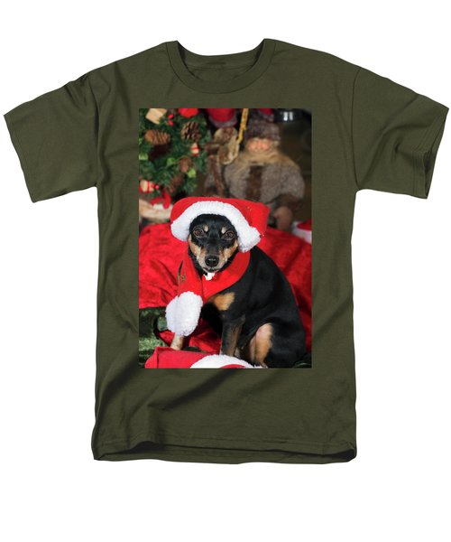 Miniature Pinscher Wishing A Merry Christmas Men's T-Shirt  (Regular Fit) by Christian Lagereek