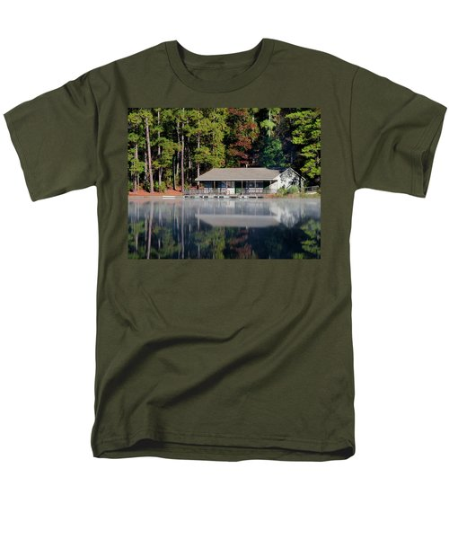 Men's T-Shirt  (Regular Fit) featuring the photograph Misty Reflection At Durant by George Randy Bass