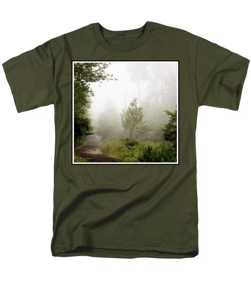 Misty Road At Forest Edge, Pocono Mountains, Pennsylvania Men's T-Shirt  (Regular Fit) by A Gurmankin