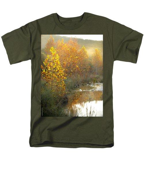 Misty Sunrise At Lost Maples State Park Men's T-Shirt  (Regular Fit) by Debbie Karnes