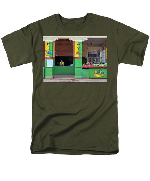 Men's T-Shirt  (Regular Fit) featuring the photograph Mjay Fruit Stand Havana Cuba by Charles Harden