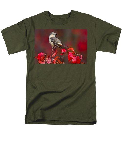 Mockingbird On Red Men's T-Shirt  (Regular Fit) by William Jobes