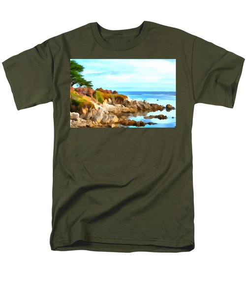 Men's T-Shirt  (Regular Fit) featuring the photograph Monterey Coastline Watercolor by Floyd Snyder