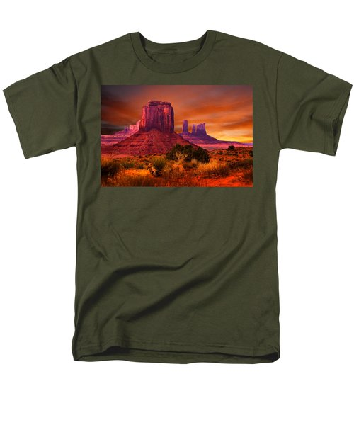 Men's T-Shirt  (Regular Fit) featuring the photograph Monument Valley Sunset by Harry Spitz