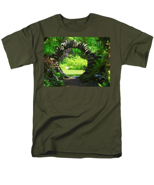 Moon Gate At Kinney Azalea Gardens Men's T-Shirt  (Regular Fit) by Catherine Gagne