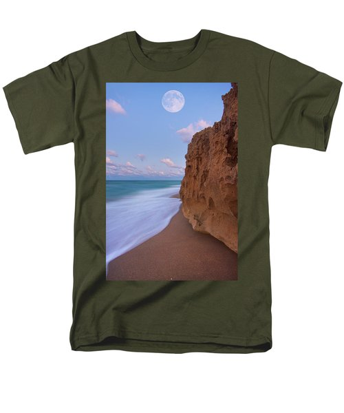 Men's T-Shirt  (Regular Fit) featuring the photograph Moon Over Hutchinson Island Beach by Justin Kelefas