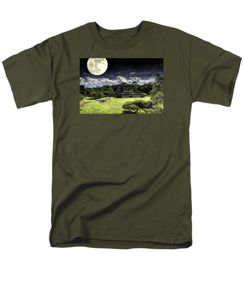 Men's T-Shirt  (Regular Fit) featuring the photograph Moon Over Mayan Temple One by Ken Frischkorn