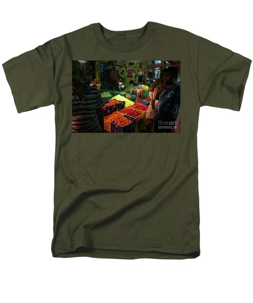 Men's T-Shirt  (Regular Fit) featuring the photograph Morning Flower Market Colors by Mike Reid