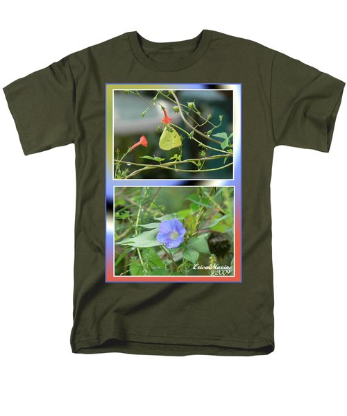 Men's T-Shirt  (Regular Fit) featuring the photograph Morning Glories And Butterfly by EricaMaxine  Price