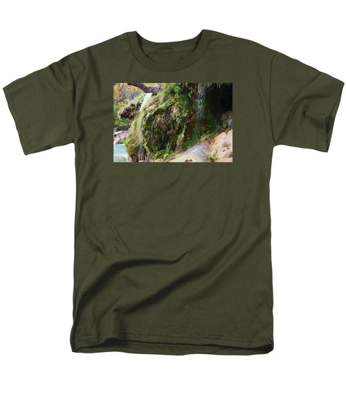 Men's T-Shirt  (Regular Fit) featuring the photograph Moss And Waterfalls by Sheila Brown