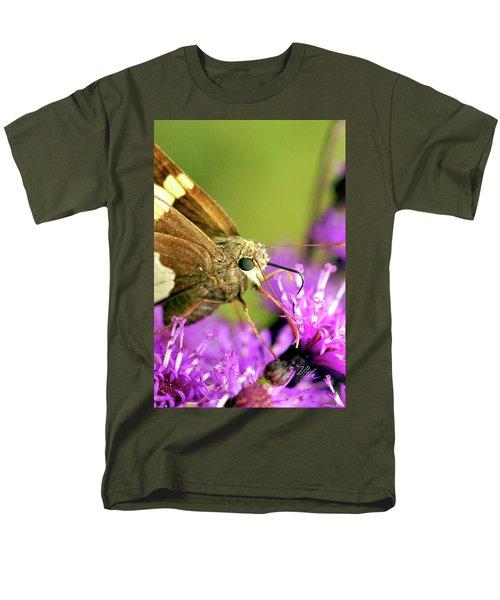 Men's T-Shirt  (Regular Fit) featuring the photograph Moth On Purple Flower by Meta Gatschenberger