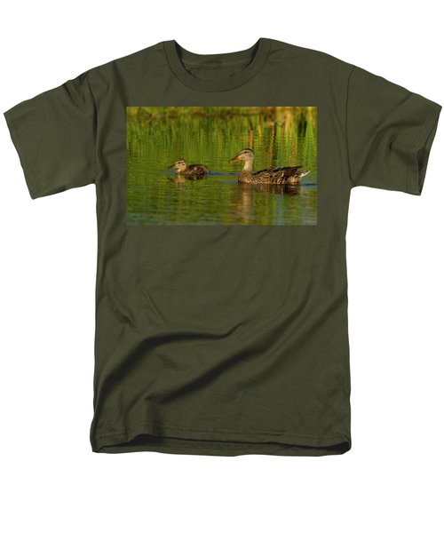 Men's T-Shirt  (Regular Fit) featuring the photograph Mother And Child Mallards by Jean Noren