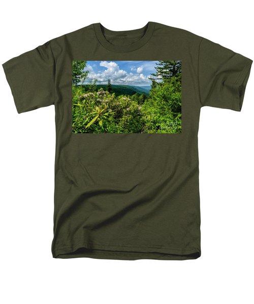 Men's T-Shirt  (Regular Fit) featuring the photograph Mountain Laurel And Ridges by Thomas R Fletcher