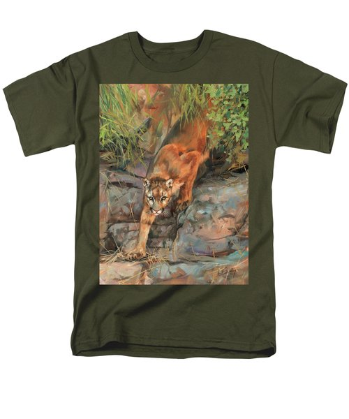 Men's T-Shirt  (Regular Fit) featuring the painting Mountain Lion 2 by David Stribbling