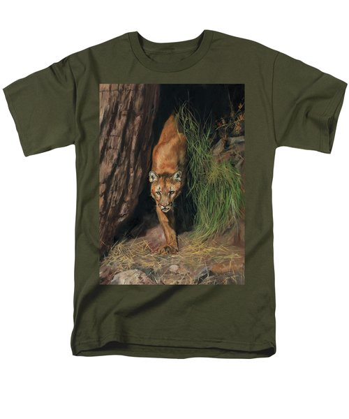 Men's T-Shirt  (Regular Fit) featuring the painting Mountain Lion Emerging From Shadows by David Stribbling