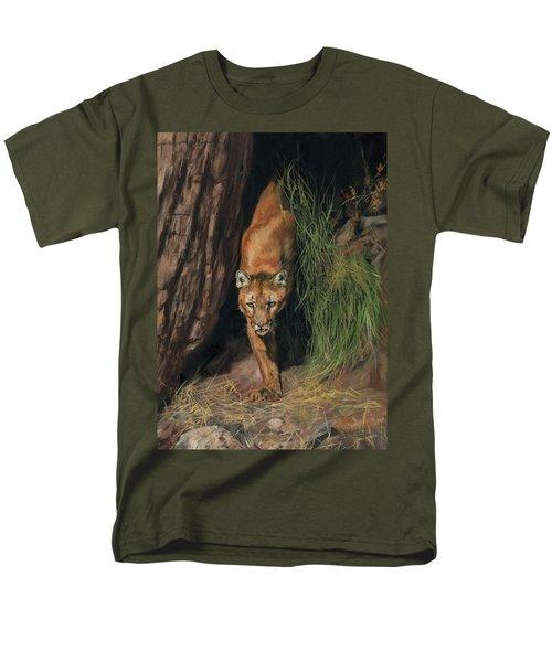Mountain Lion Emerging From Shadows Men's T-Shirt  (Regular Fit) by David Stribbling