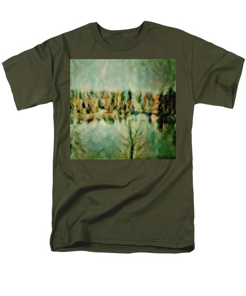 Men's T-Shirt  (Regular Fit) featuring the painting Movie A Chance In The World Placid Lake Frozen In The Winter Fall Ice Bitter Cold Uninviting Cool Pa by MendyZ