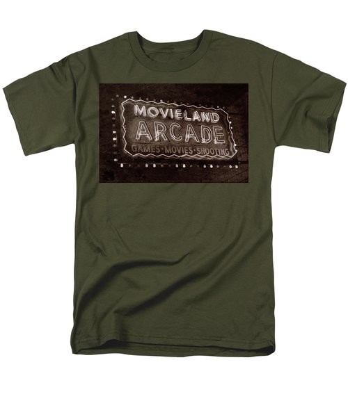 Men's T-Shirt  (Regular Fit) featuring the photograph Movieland Arcade - Gritty by Stephen Stookey