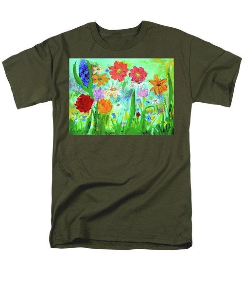 My Happy Garden 1  Men's T-Shirt  (Regular Fit) by Haleh Mahbod