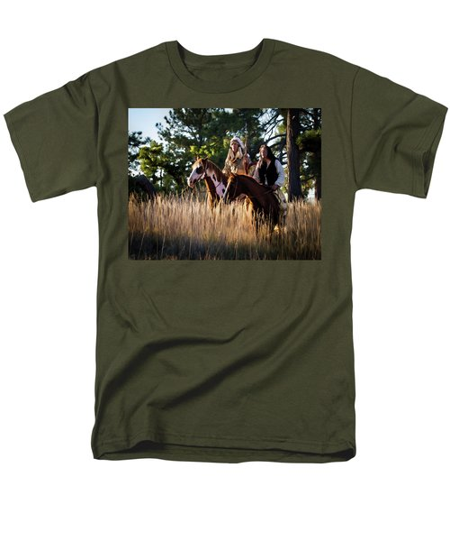 Native Americans On Horses In The Morning Light Men's T-Shirt  (Regular Fit) by Nadja Rider