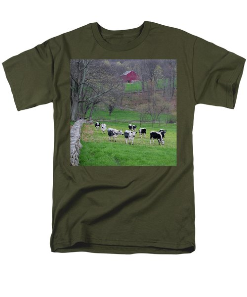Men's T-Shirt  (Regular Fit) featuring the photograph New England Spring Pasture Square by Bill Wakeley