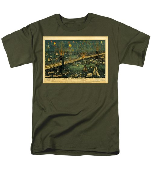 Men's T-Shirt  (Regular Fit) featuring the photograph New York And Brooklyn Bridge Opening Night Fireworks by John Stephens