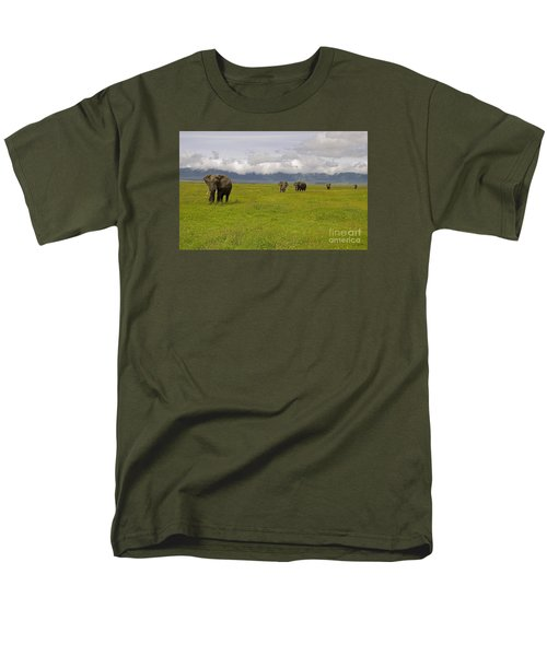 Ngorongoro Elephants-signed-#0135 Men's T-Shirt  (Regular Fit) by J L Woody Wooden