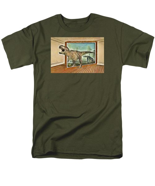 Men's T-Shirt  (Regular Fit) featuring the painting Night At The Art Gallery - T Rex Escapes by Wayne Pascall