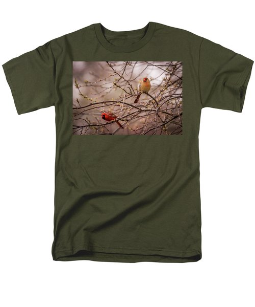 Men's T-Shirt  (Regular Fit) featuring the photograph Northern Cardinal Pair In Spring by Terry DeLuco