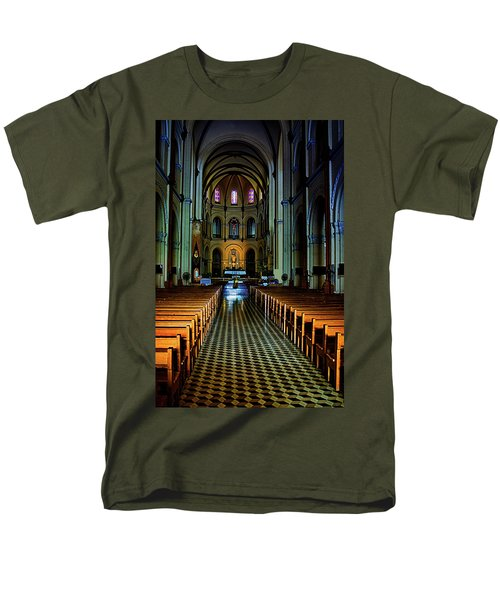 Men's T-Shirt  (Regular Fit) featuring the photograph Notre Dame Cathedral Saigon by Joseph Hollingsworth