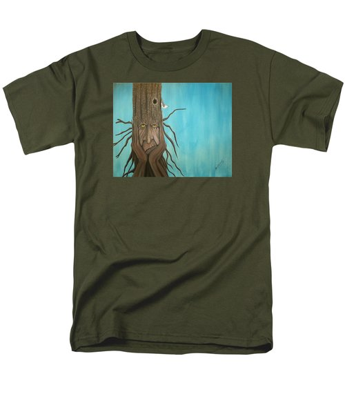 Men's T-Shirt  (Regular Fit) featuring the painting Nuthatch by Edwin Alverio