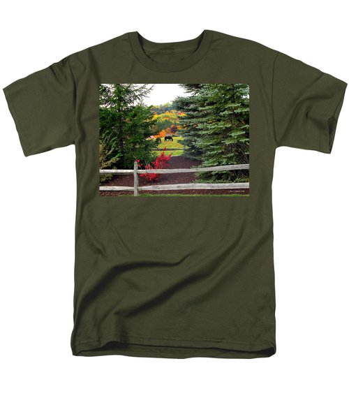 Men's T-Shirt  (Regular Fit) featuring the photograph Ohio Farm In Autumn by Joan  Minchak