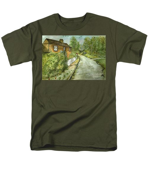 Men's T-Shirt  (Regular Fit) featuring the painting Old English Cottage by Teresa White