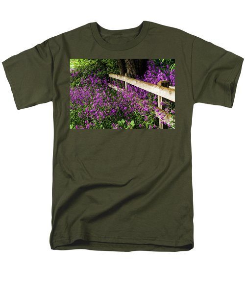 Old Fence And Purple Flowers Men's T-Shirt  (Regular Fit)