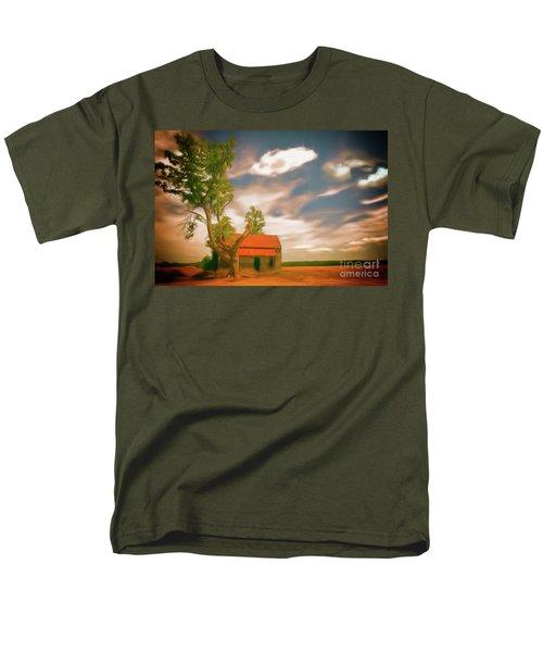 Old Rustic Vintage Farm House And Tree Ap Men's T-Shirt  (Regular Fit) by Dan Carmichael