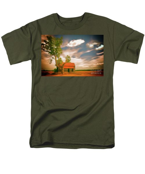 Old Rustic Vintage Farm House And Tree Ap Men's T-Shirt  (Regular Fit)