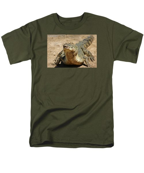 Men's T-Shirt  (Regular Fit) featuring the photograph One Crazy Saltwater Crocodile by Gary Crockett