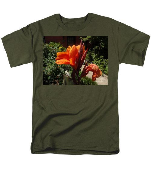 Orange Canna Lily Men's T-Shirt  (Regular Fit) by Rod Ismay