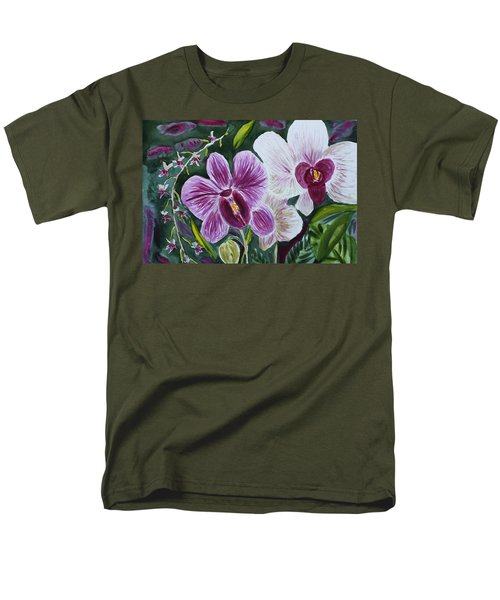 Men's T-Shirt  (Regular Fit) featuring the painting Orchid At Aos 2010 by Donna Walsh