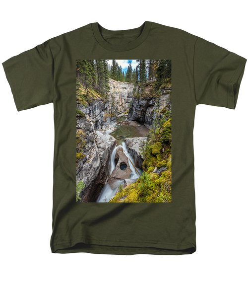 Men's T-Shirt  (Regular Fit) featuring the photograph Owl Face Falls Of Maligne Canyon by Pierre Leclerc Photography