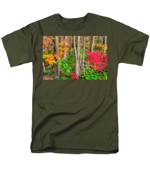 Pa Country Roads - Autumn Flourish - Harmony Hill Nature Area - Chester County Pa Men's T-Shirt  (Regular Fit) by Michael Mazaika