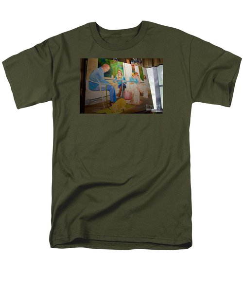 Men's T-Shirt  (Regular Fit) featuring the painting Painting Dogs On Park Avenue by AnnaJo Vahle