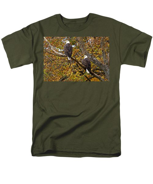 Pair Of Eagles In Autumn Men's T-Shirt  (Regular Fit) by Larry Ricker