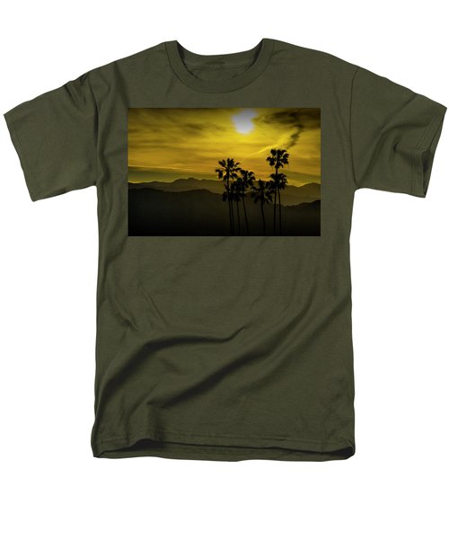 Men's T-Shirt  (Regular Fit) featuring the photograph Palm Trees At Sunset With Mountains In California by Randall Nyhof