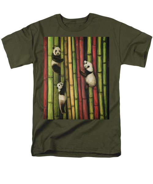 Men's T-Shirt  (Regular Fit) featuring the painting Pandas Climbing Bamboo by Leah Saulnier The Painting Maniac