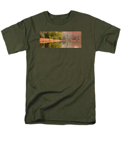Panorama Of Cabin By The Lake Men's T-Shirt  (Regular Fit) by Shelby  Young