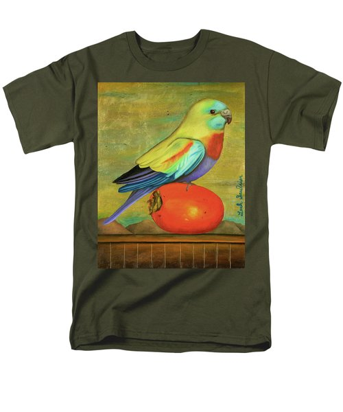 Men's T-Shirt  (Regular Fit) featuring the painting Parakeet On A Persimmon by Leah Saulnier The Painting Maniac